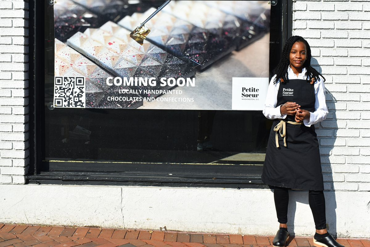 Ashleigh Pearson stands in front of Petite Soeur's incoming Georgetown location