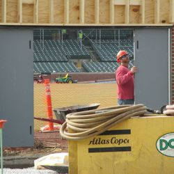 The new double doors being installed in right field -