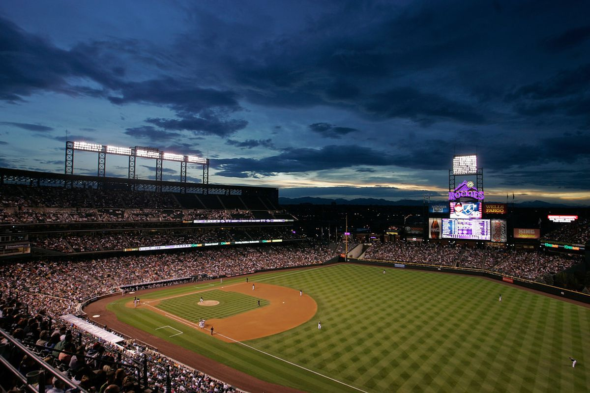 DENVER, CO - JULY 19:  A general view as the Atlanta Braves take on the Colorado Rockies at Coors Field on July 19, 2011 in Denver, Colorado.  (Photo by Justin Edmonds/Getty Images)