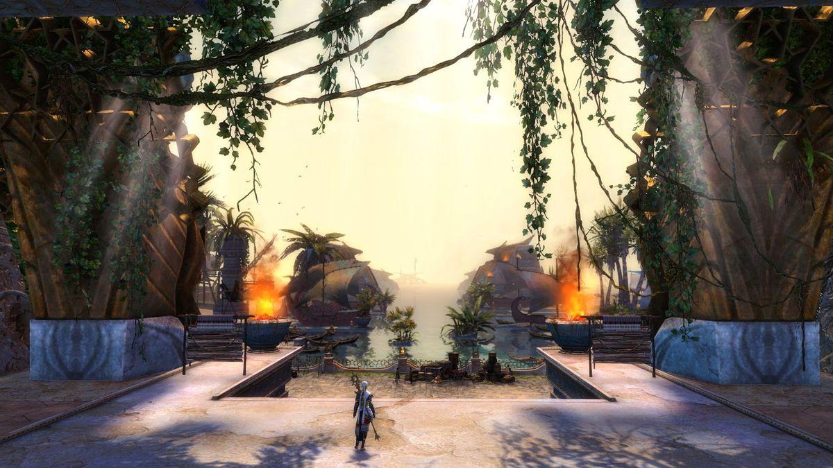 This screenshot from Guild Wars 2: Path of Fire shows a player character standing on a landing in front of a dock. Vines criss-cross from huge pillars on either side of the character, and in front of them a waterfront with huge ships can be seen.