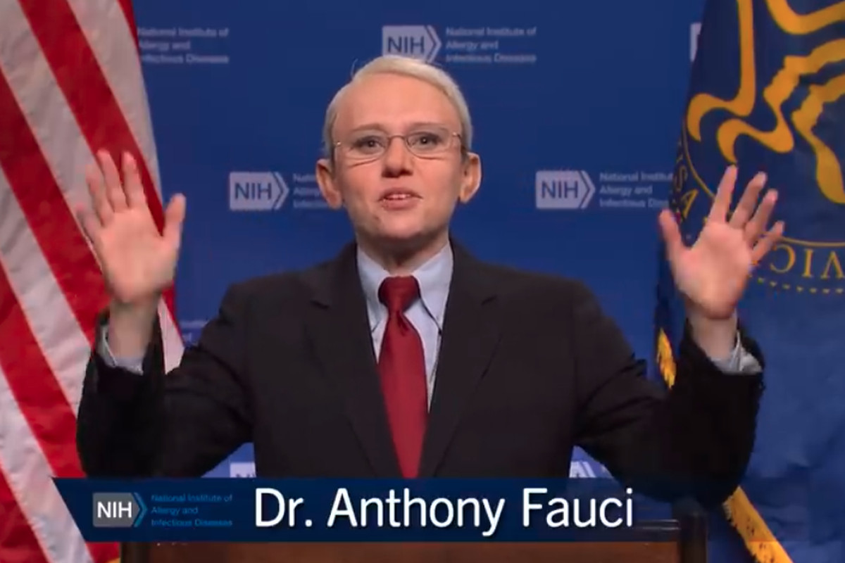 SNL's cold open for May 15 saw Kate McKinnon reprise her Dr. Fauci role following mask announcement