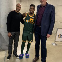 Donovan Mitchell poses with Utah Jazz legends Darrell Griffith and Mark Eaton after posting a career-high 46 points in the Jazz's 115-111 win against Milwaukee on Saturday, March 2, 2019.