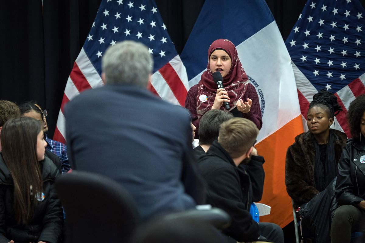 A student asks Mayor de Blasio a question during Thursday's town hall meeting about school safety.