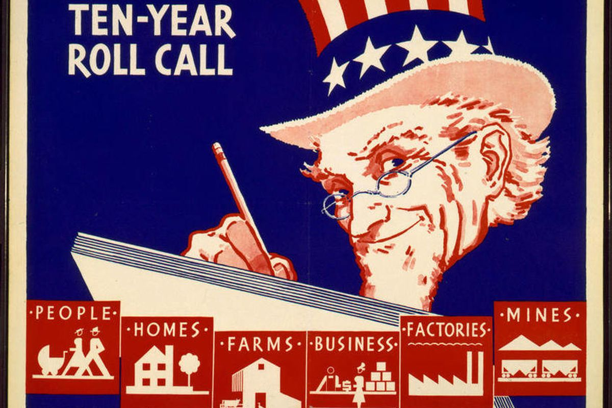 FILE - This file photo provided by the University of Texas at Arlington Library shows an image of a poster used for promotional efforts during the 1940 Census. Interest in the newly released 1940 U.S. census is so great that the government website with th