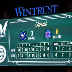 10:21 p.m. Game totals, on the left field video board -