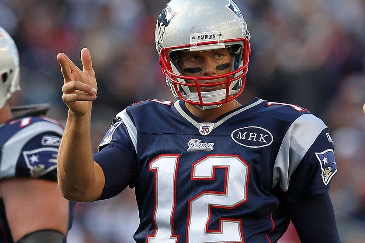 FOXBORO, MA -  SEPTEMBER 18:  Tom Brady #12 of the New England Patriots gestures during a game with the San Diego Chargers at Gillette Stadium on September 18, 2011 in Foxboro, Massachusetts. (Photo by Jim Rogash/Getty Images)
