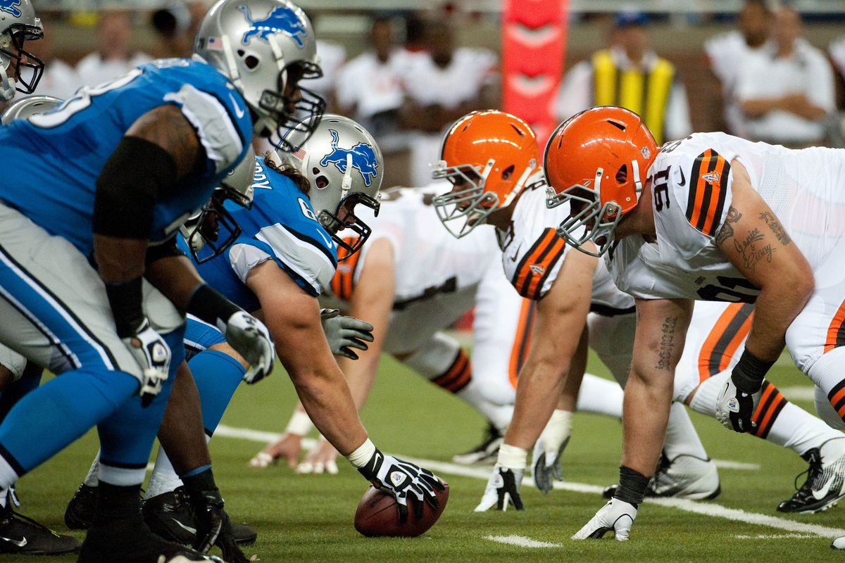 Aug 10, 2012; Detroit, MI, USA; Detroit Lions offensive line lines up against Cleveland Browns defensive line during the first half of a preseason game at Ford Field. Mandatory Credit: Tim Fuller-US PRESSWIRE