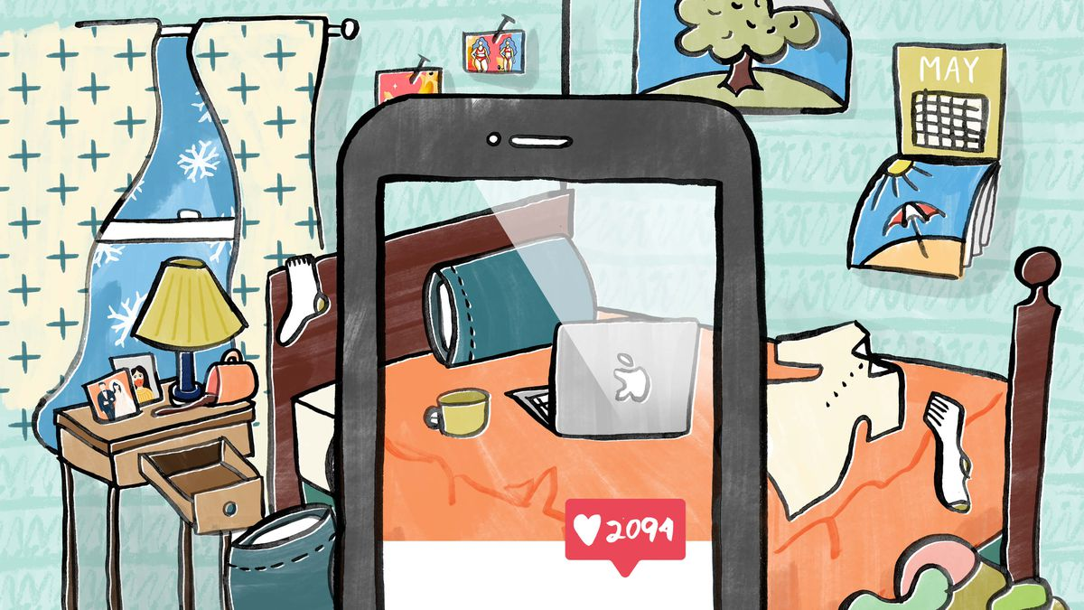An illustration of a bedroom viewed through a phone with an Instagram-like interface.