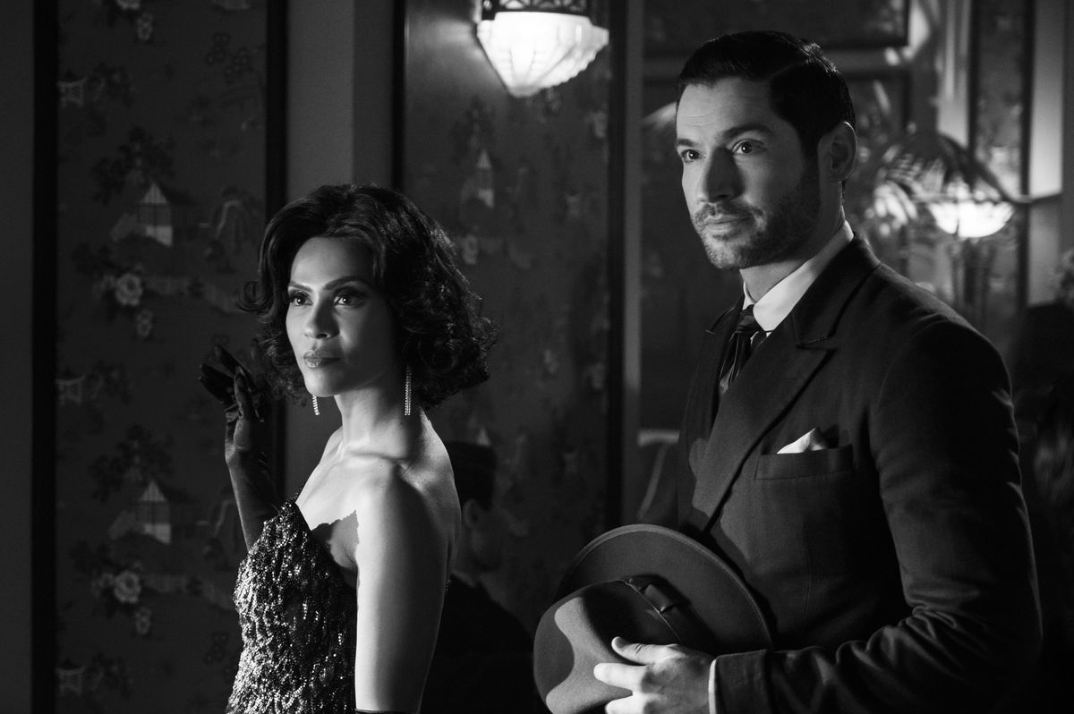 """Tom Ellis as Lucifer and Lesley-Ann Brandt as Maze go black-and-white and '40s fancy in the noir Lucifer episode """"It Never Ends Well for the Chicken"""""""