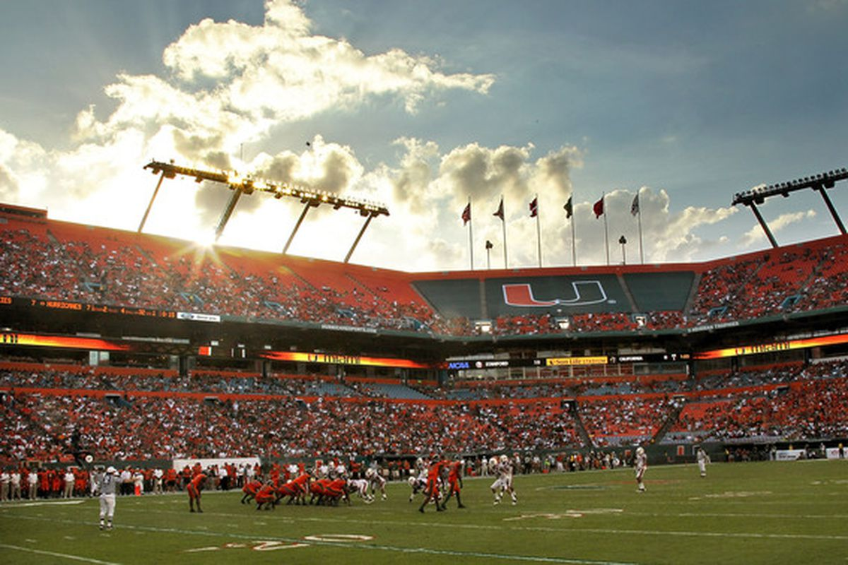 MIAMI - NOVEMBER 20: A general view of the Miami Hurricanes during a game against the Virginia Tech Hokies at Sun Life Stadium on November 20 2010 in Miami Florida.  (Photo by Mike Ehrmann/Getty Images)