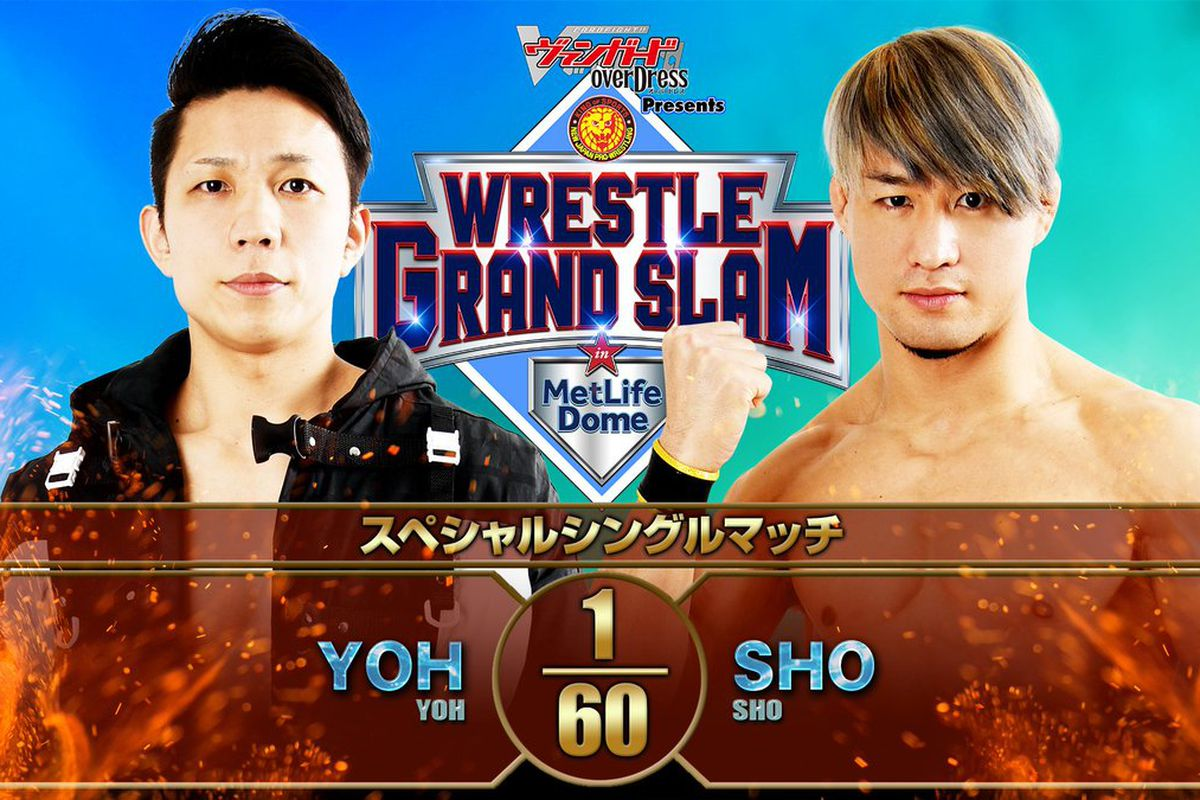 Match graphic for SHO vs. YOH at Wrestle Grand Slam