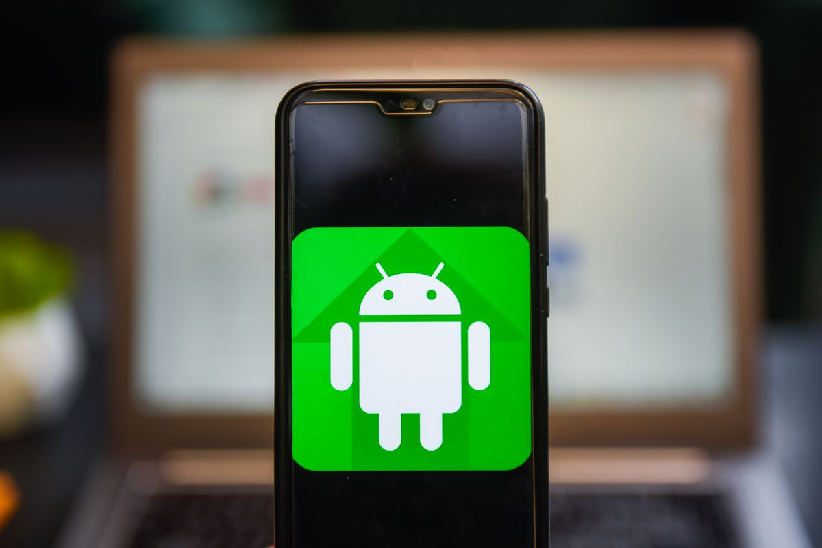 An Android logo seen displayed on a smartphone.
