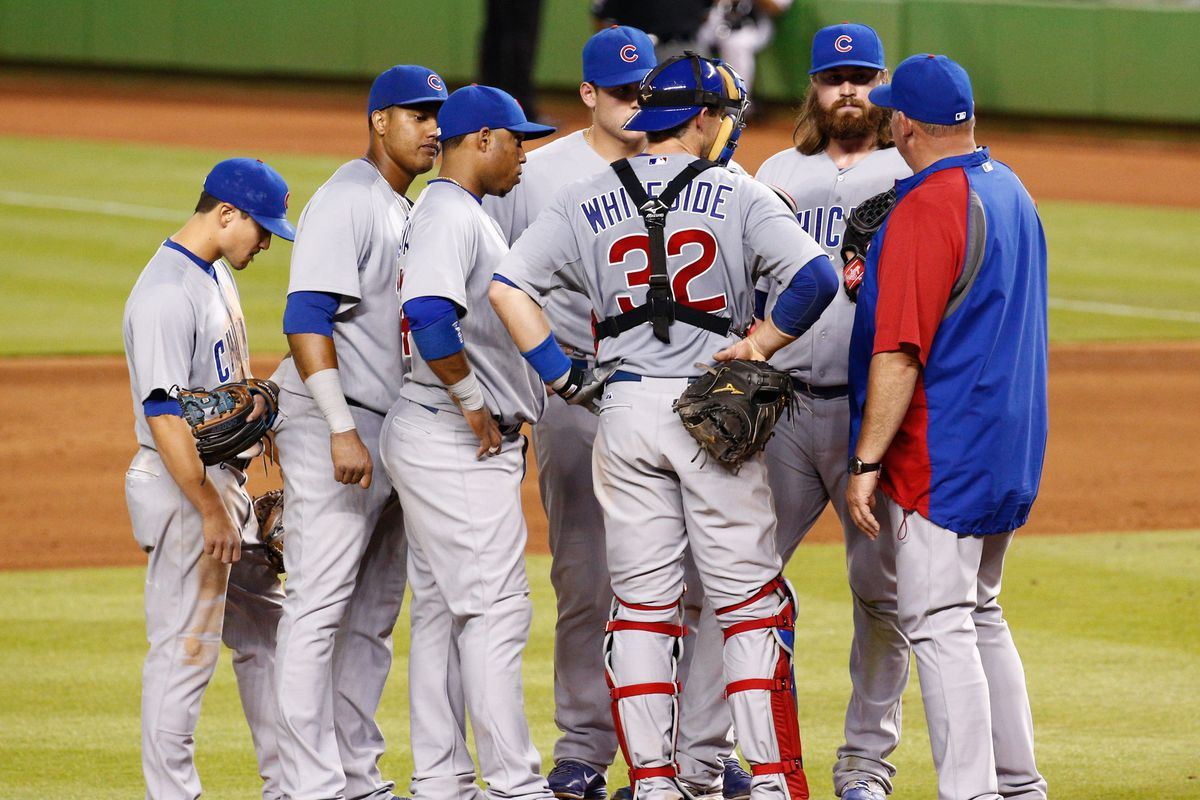 How many of these guys are here only for moral support? And what exactly is Starlin Castro looking at?