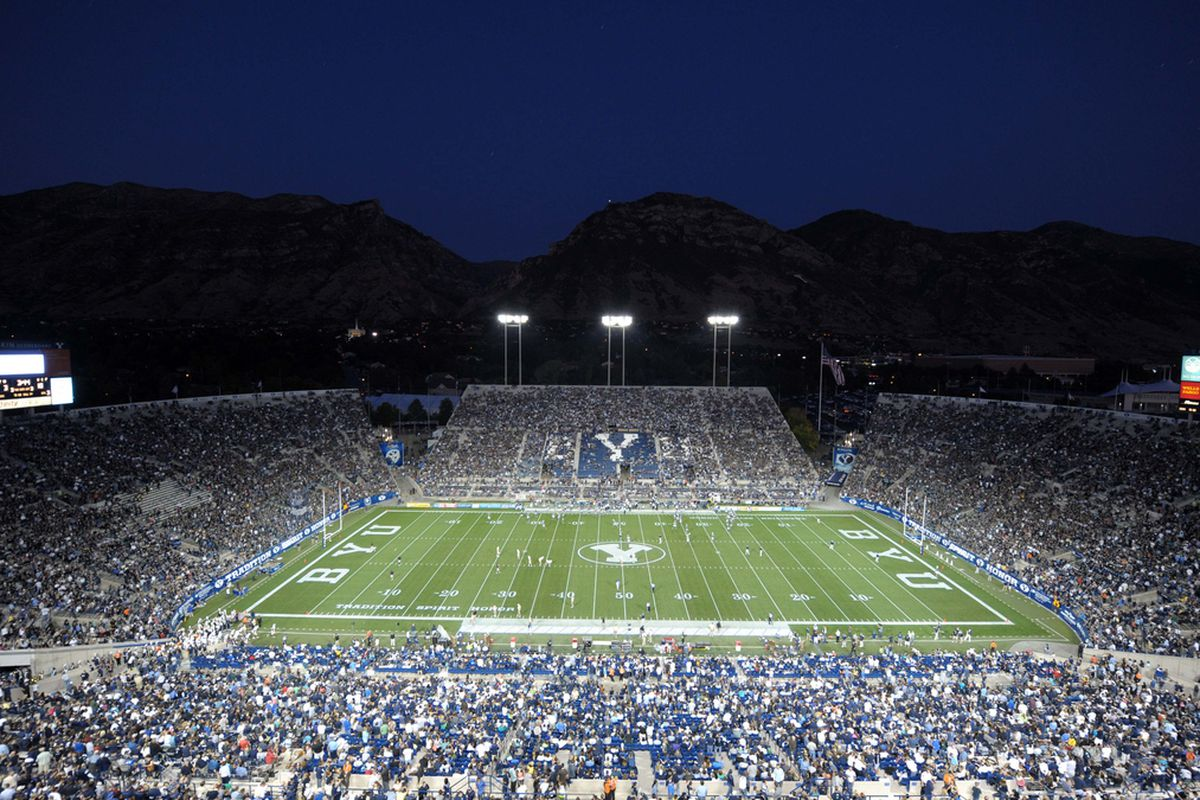 Kirby Lee-US PRESSWIRE   Sep 23, 2011; Provo, UT, USA; General view of LaVell Edwards Stadium during the NCAA football game between the UCF Knights and the BYU Cougars.