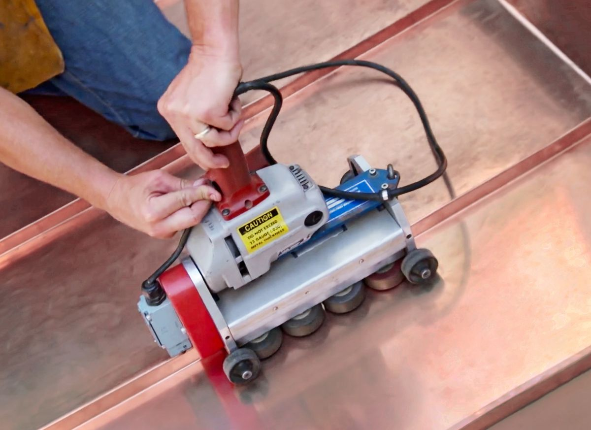 electric seamer used in installing metal roofs, July/Aug 2020