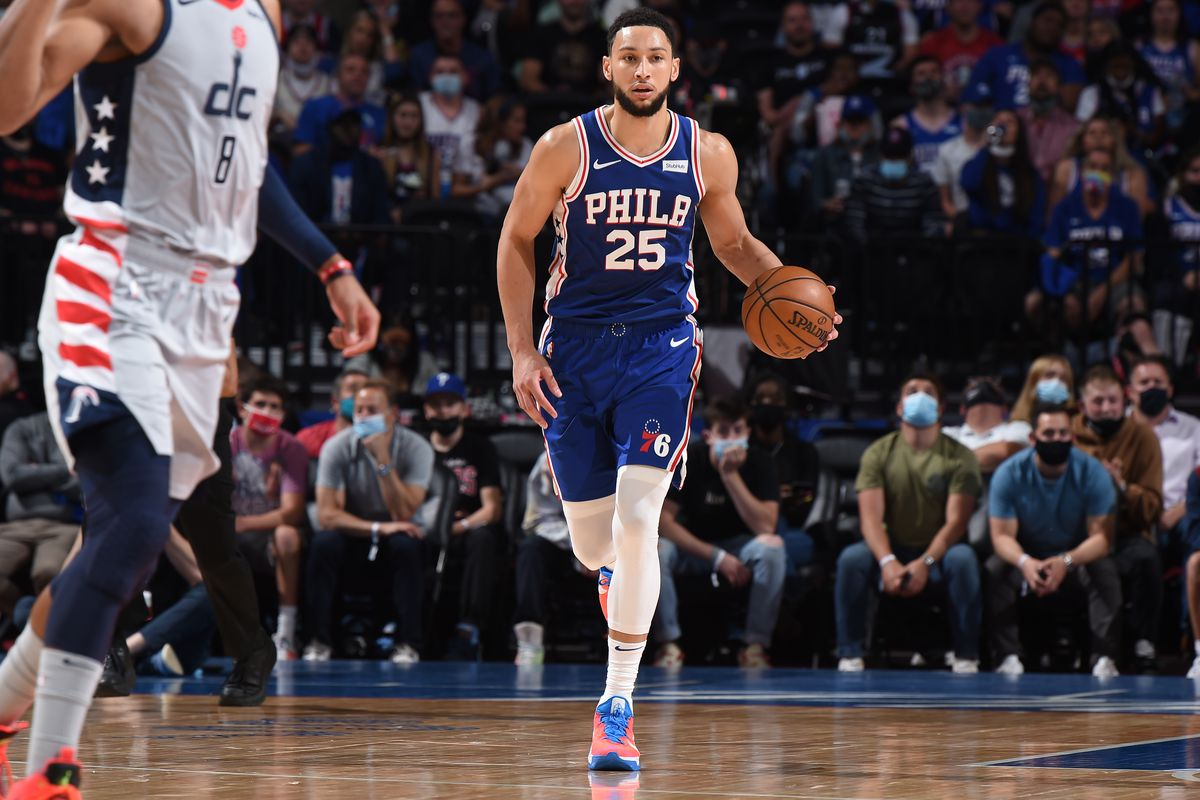 Ben Simmons #25 of the Philadelphia 76ers handles the ball against the Washington Wizards during Round 1, Game 5 of the Eastern Conference Playoffs on June 2, 2021 at Wells Fargo Center in Philadelphia, Pennsylvania.