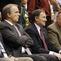 Utah Governor Gary Herbert watches as the Utah Jazz are defeated by the Phoenix Suns 107-105 as they play NBA basketball Wednesday, April 4, 2012, in Salt Lake City, Utah.