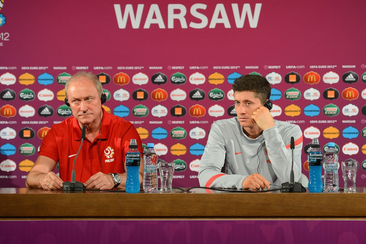 Post-Match Press Conferences - Poland v Greece, Group A: UEFA EURO 2012 WARSAW, POLAND - JUNE 08: The Poland coach Franciszek Smuda and man of the match Robert Lewandowski talk to the media in this handout image provided by UEFA on June 8, 2012 in Warsaw, Poland
