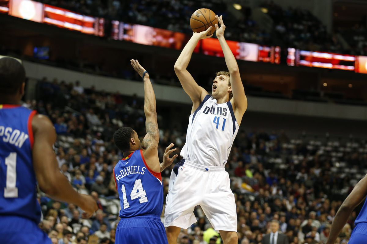 Dirk Nowitzki only took eight shots against the Sixers, yet the Mavericks still won the game by 53 points.