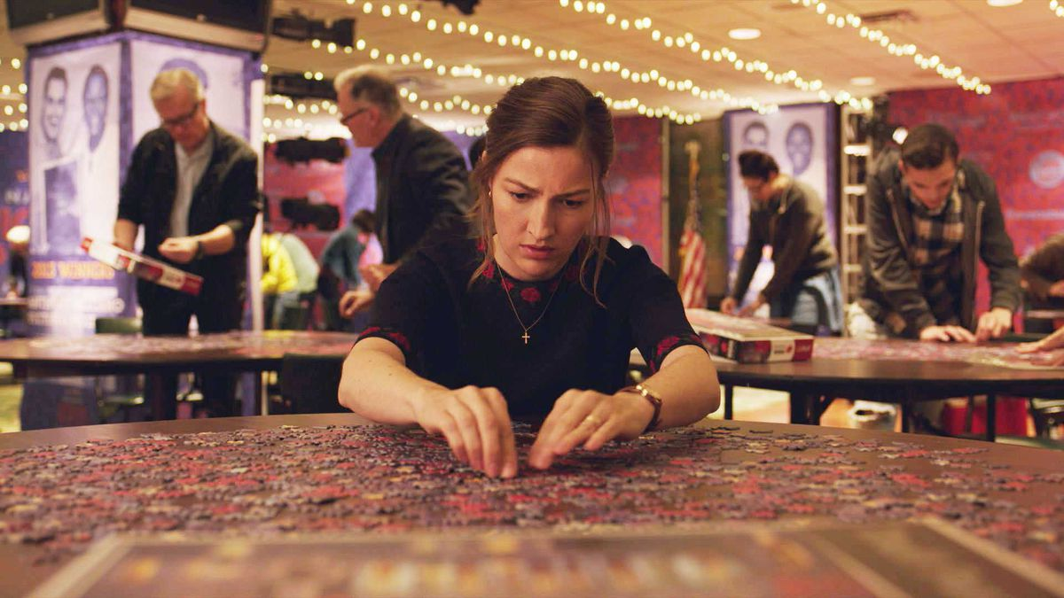 kelly macdonald completing a jigsaw puzzle in Puzzle