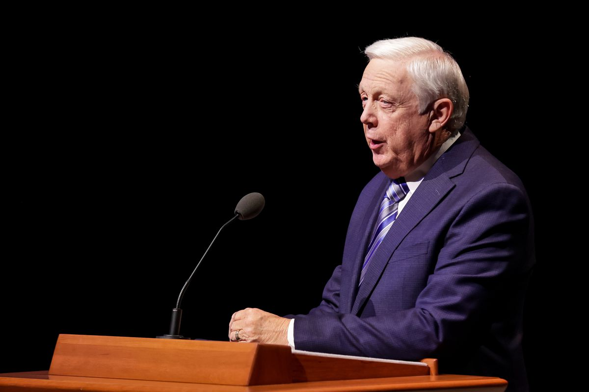 Ron Jarrett, president of The Tabernacle Choir at Temple Square, speaks at a news conference.