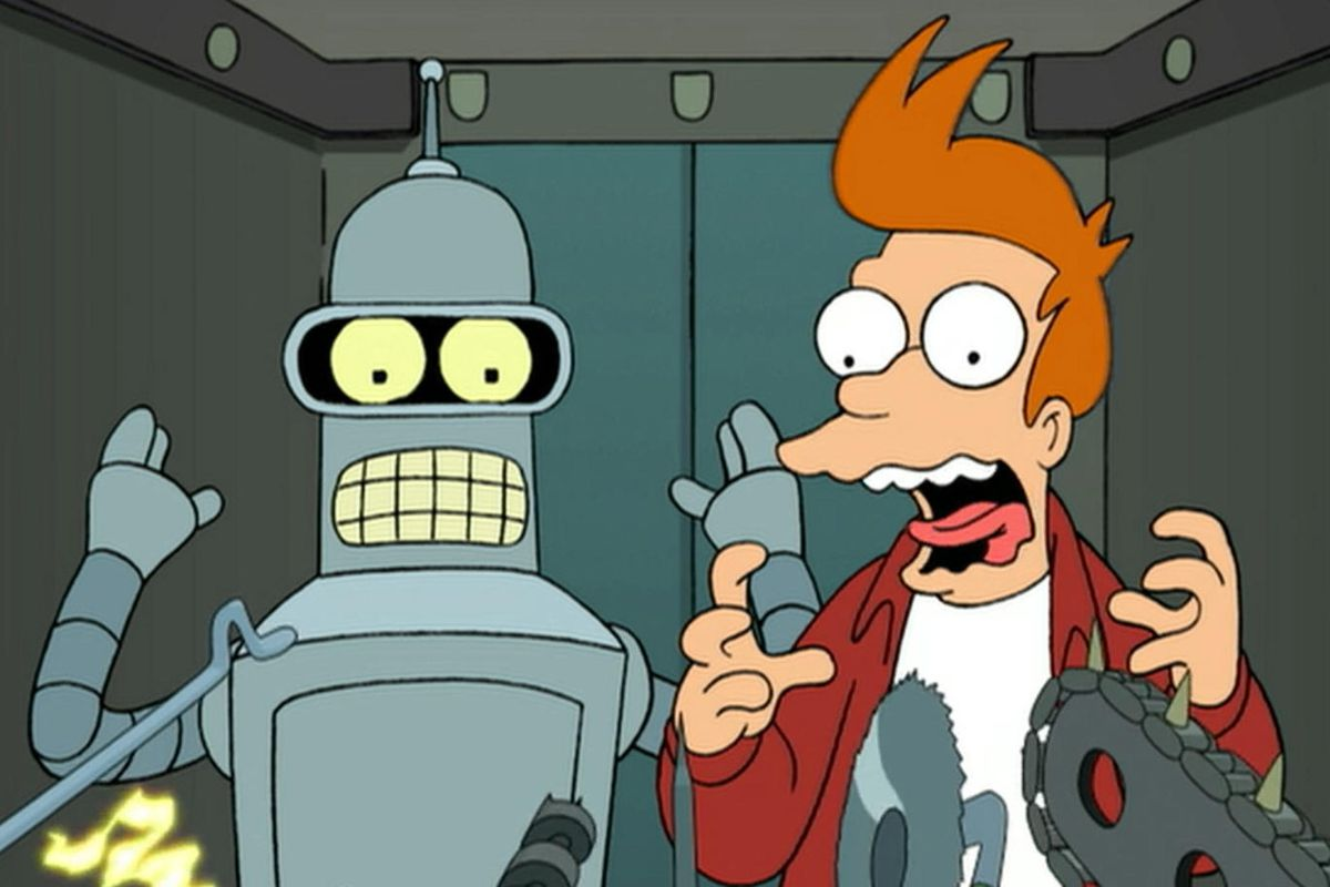 Bender and Fry in Futurama