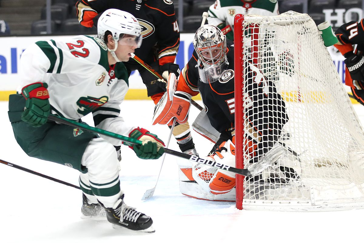 John Gibson #36 of the Anaheim Ducks tends goal during the third period of a game against the Minnesota Wild at Honda Center on January 18, 2021 in Anaheim, California.