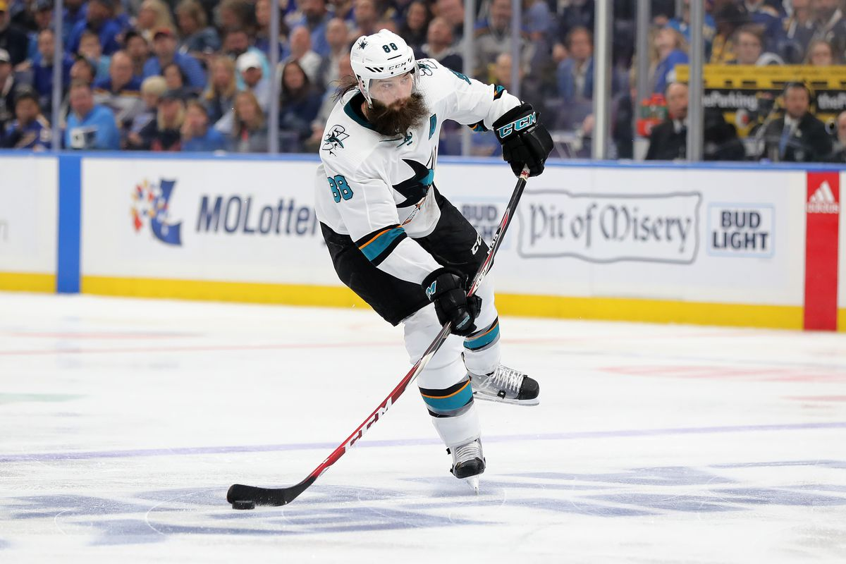 Brent Burns of the San Jose Sharks shoots the puck against the St. Louis Blues during the third period in Game 6 of the Western Conference Finals during the 2019 NHL Stanley Cup Playoffs at Enterprise Center on May 21, 2019 in St Louis, Missouri.