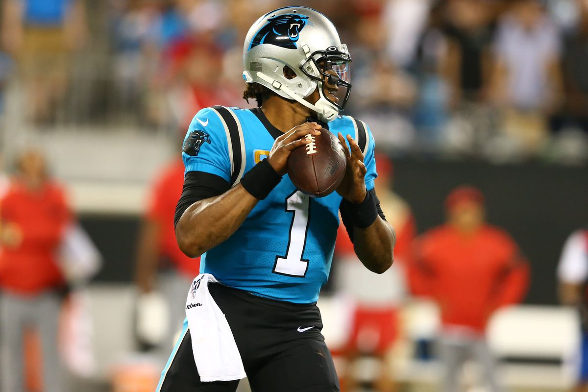 Carolina Panthers quarterback Cam Newton drops back to pass against the Tampa Bay Buccaneers during the third quarter at Bank of America Stadium.