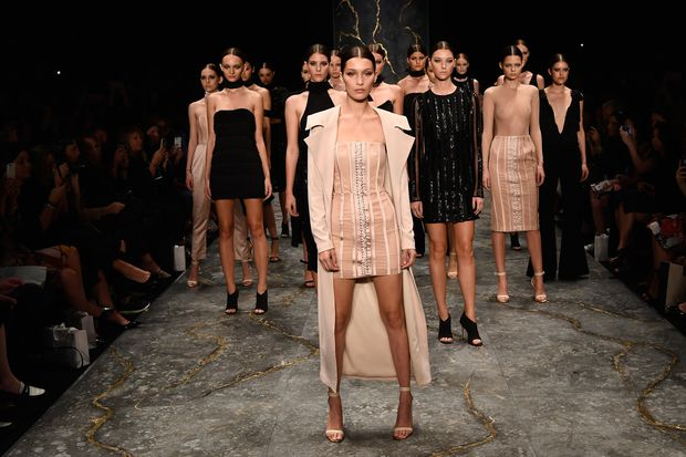 Bevy of White Runway Models Walk to Beyoncés Formation