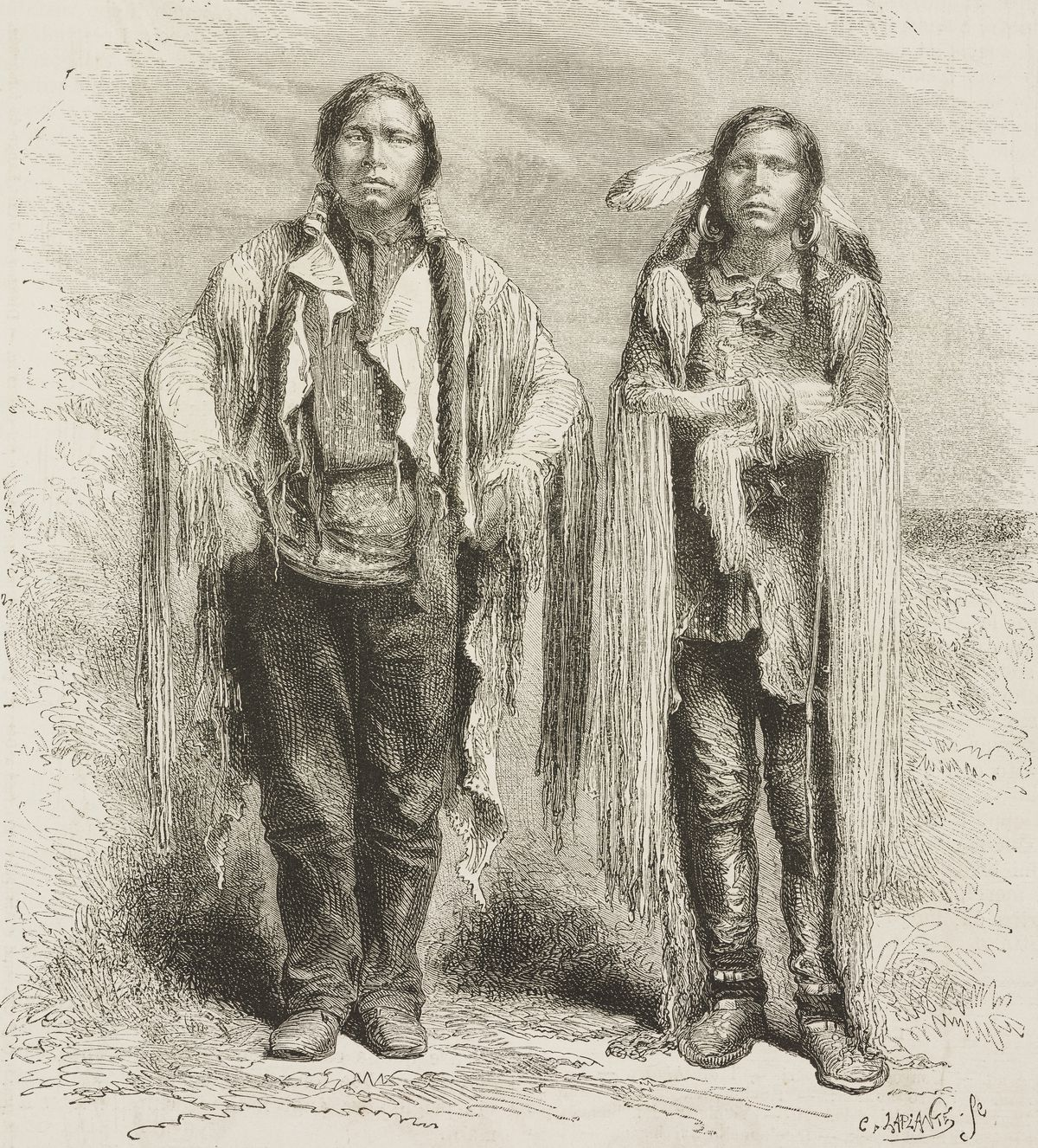 Yule and Quincy, Ute chiefs, drawing, Janet Lange