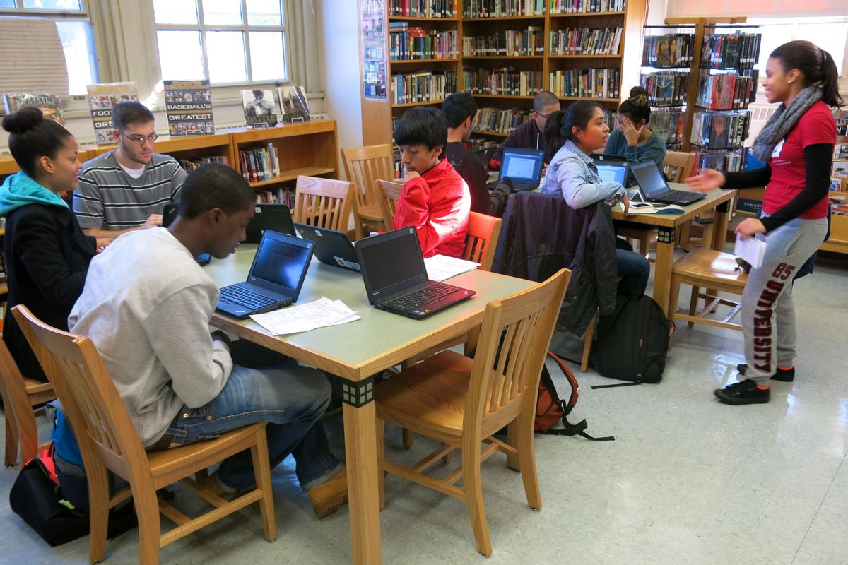 Students put the finishing touches on their applications.