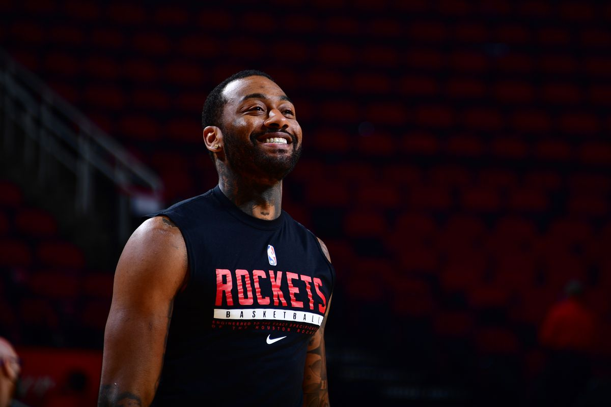 John Wall of the Houston Rockets smiles before the game against the Detroit Pistons on MARCH 19, 2021 at the Toyota Center in Houston, Texas.