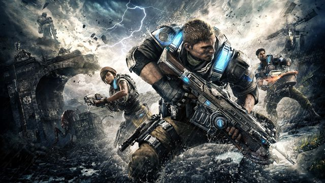 Gears of War 4 artwork of protagonists Kait Diaz, JD Fenix, and Del Walker in a lightning storm with aliens behind them