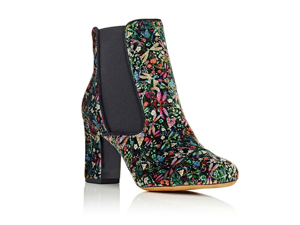 A pair of floral embroidered Tabitha Simmons boots