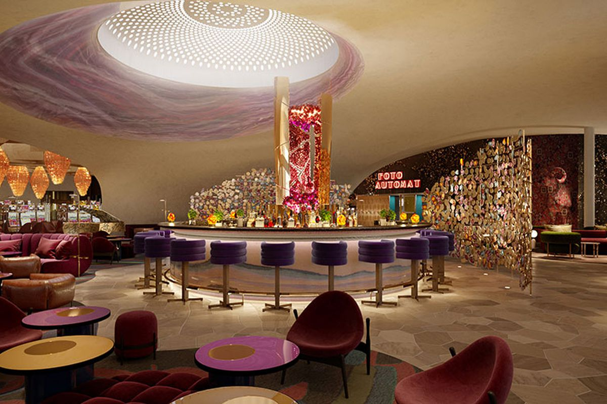 A rendering of the Commons Club restaurant and lounge coming to the Virgin Hotels Las Vegas in November 2020.