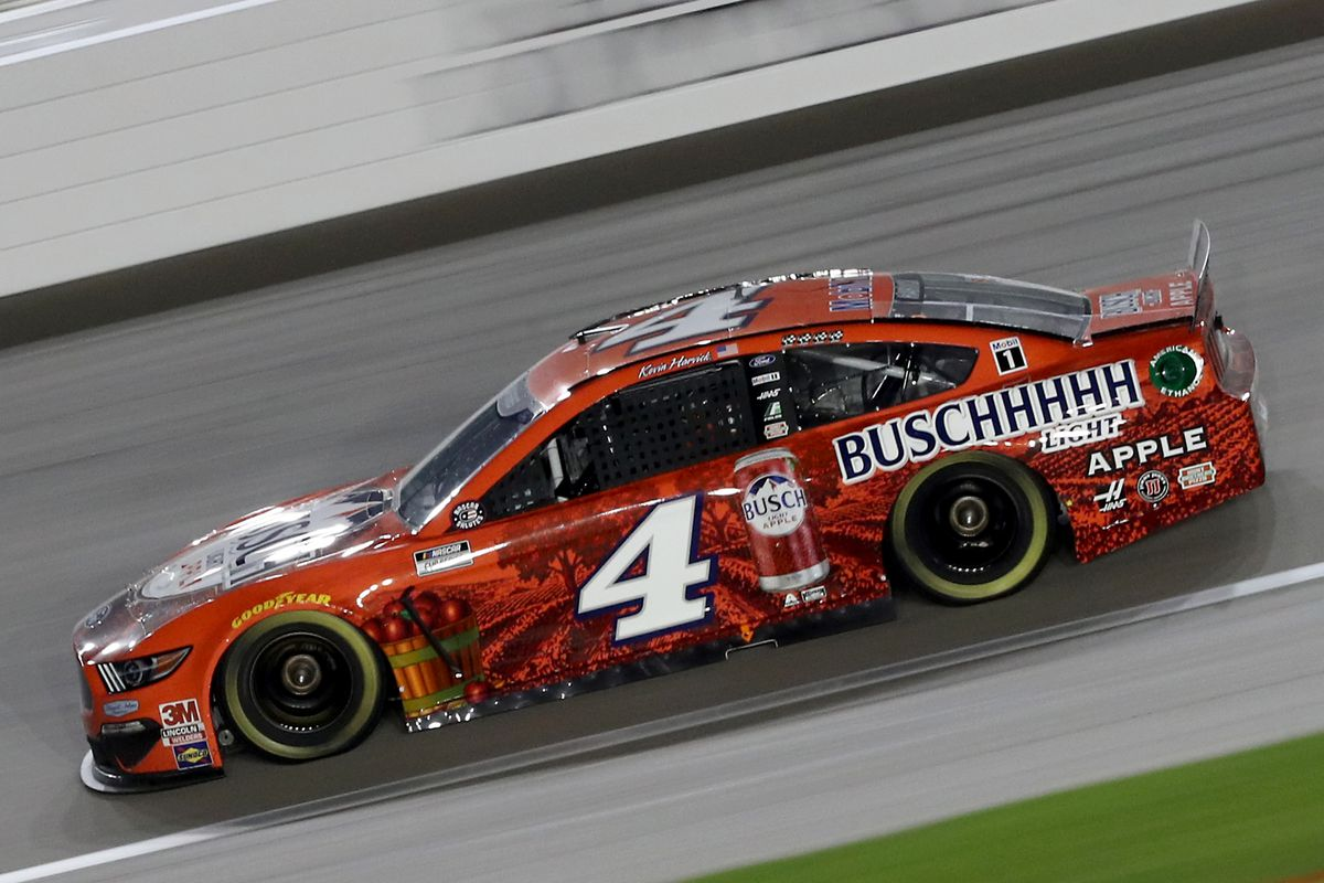 Kevin Harvick, driver of the Busch Light Apple Ford, drives during the NASCAR Cup Series Super Start Batteries 400 Presented by O'Reilly Auto Parts at Kansas Speedway on July 23, 2020 in Kansas City, Kansas.