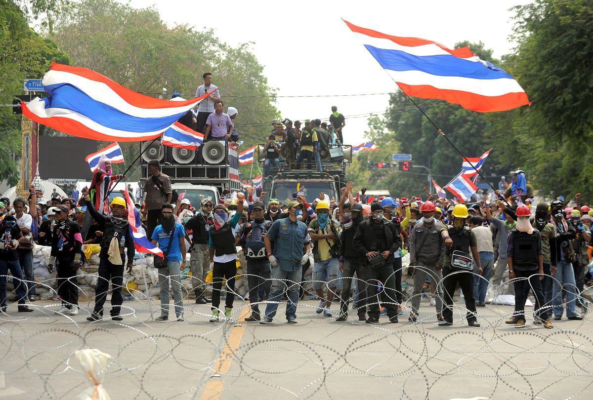 Anti-government protesters shut down a Bangkok street in February 2014 (Manjunath Kiran/AFP/Getty)