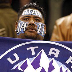 Utah fan Lorenzo Macalei as the Utah Jazz and the Denver Nuggets play.
