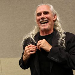 """Camden Toy, who played Gentleman in """"Buffy the Vampire Slayer,"""" talks to the media at a press conference at Utah's first Comic Con at the Salt Palace Convention Center in Salt Lake City on Thursday, Sept. 5, 2013."""