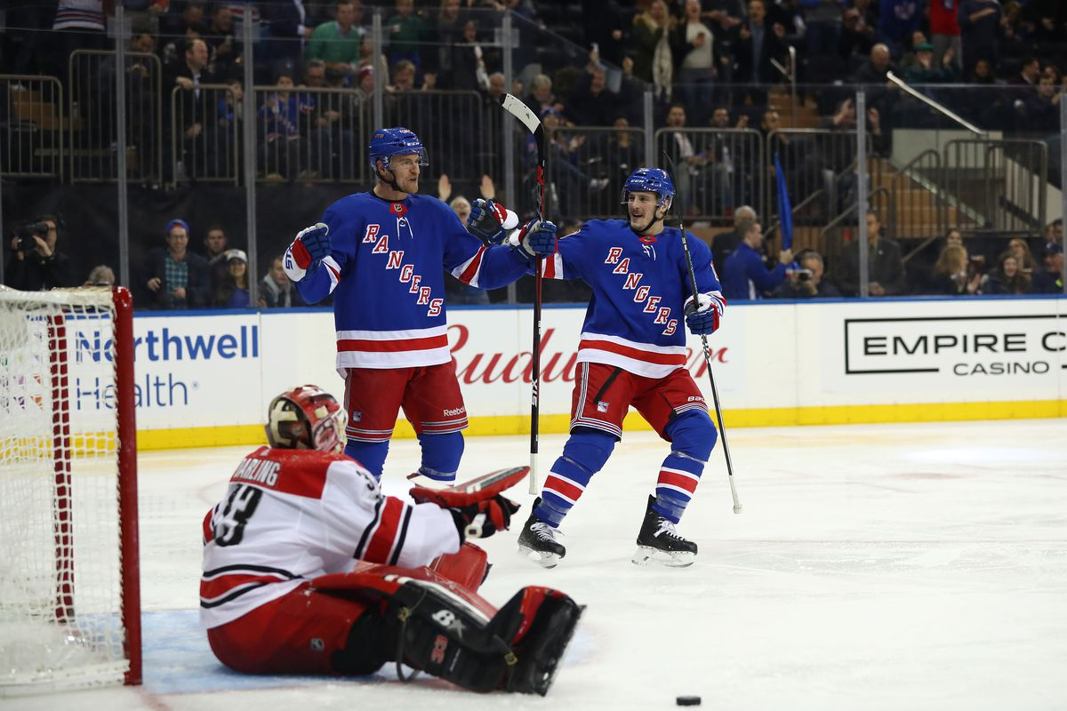 NEW YORK, NEW YORK - DECEMBER 01:  Michael Grabner #40 of the New York Rangers celebrates his goal in the second period against Scott Darling #33 of the Carolina Hurricanes during their game at Madison Square Garden on December 01, 2017 in New York City. (Photo by Al Bello/Getty Images)