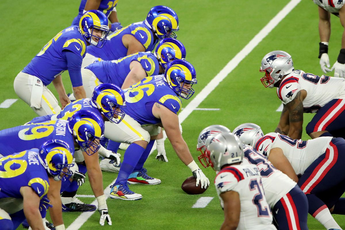 Jared Goff #16 of the Los Angeles Rams calls out the play during the fourth quarter against the New England Patriots at SoFi Stadium on December 10, 2020 in Inglewood, California