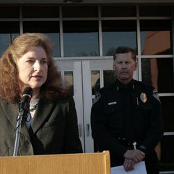 FBI Special Agent in Charge Mary Rook addresses a news conference in Anchorage, Alaska, on Monday, April 2, 2012. Anchorage Police and the FBI announced that they believe they recovered body of Samantha Koenig, 18, from a lake north of Anchorage. Koenig has been missing since Feb. 1, 2012, last seen on surveillance tape being led away from the coffee shack by what appeared to be an armed man.