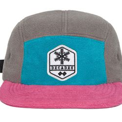 """<a href=""""http://www.thedecadeshatco.com/product/black-diamond-5-panel"""">Fleece 5-Panel Hat</a>, $34 from The Decades Hat Co"""