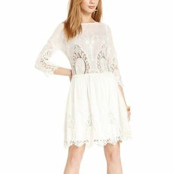 """<b>Bar III</b> Three-Quarter-Sleeve Antique-Lace A-Line, <a href=""""http://www1.macys.com/shop/product/bar-iii-dress-three-quarter-sleeve-antique-lace-a-line?ID=816411&CategoryID=5449&LinkType=#fn=COLOR%3DWhite%26PRICE%3D50.0%7C99.99000000000001%26sp%3D1%26"""
