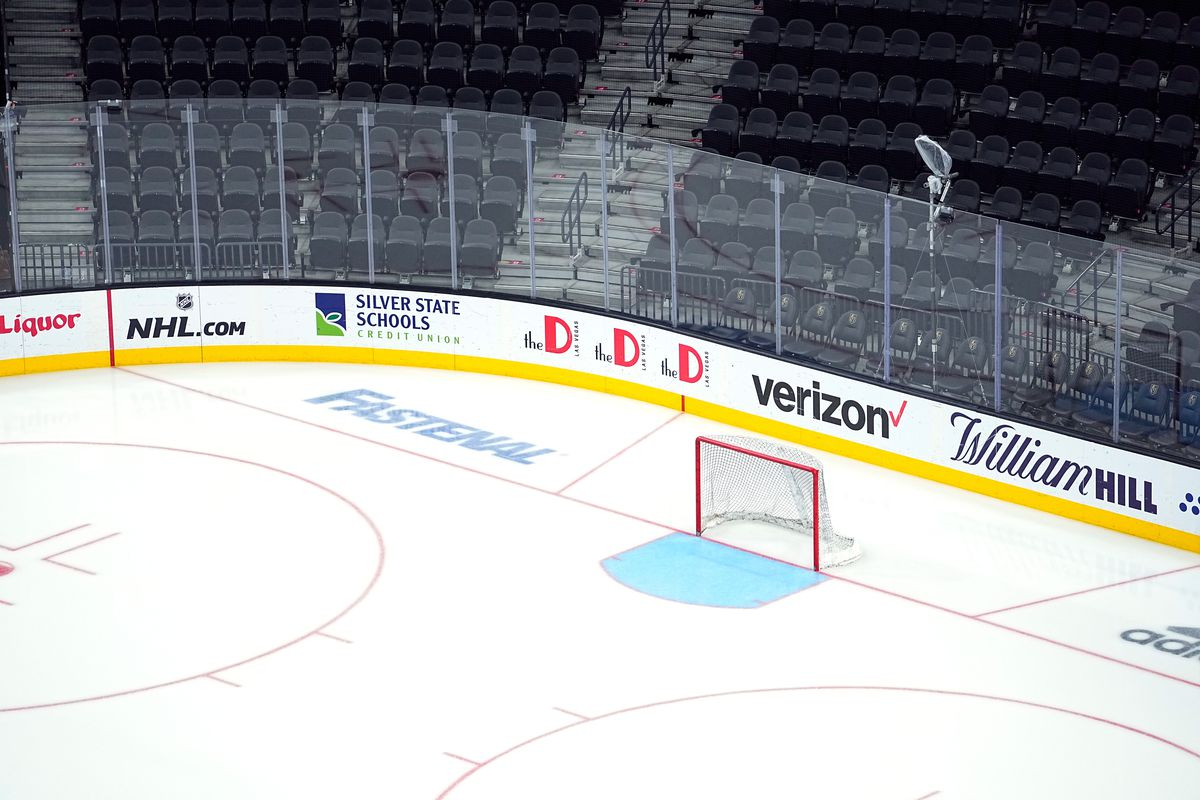 A general view of the Fastenal logo seen on ice at T-Mobile Arena on June 22, 2021 in Las Vegas, Nevada.