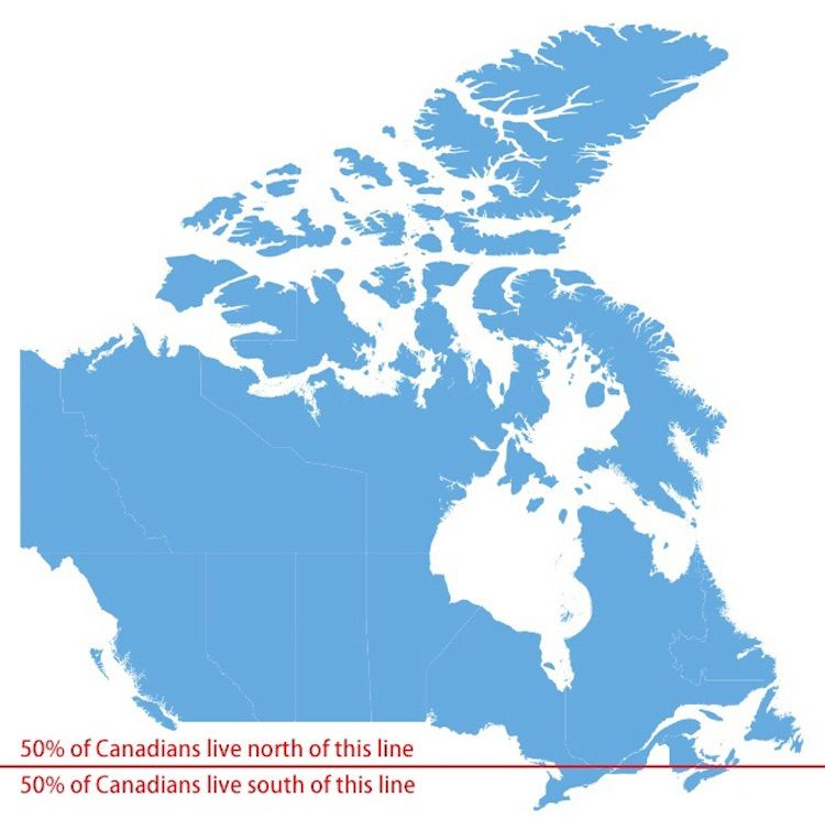 Canada On Map Of The World.Canada Is A Huge Country Most Of It Is Unfit For Human Habitation