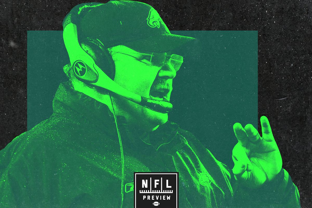 Andy Reid wearing a headset and a Philadelphia Eagles hat. The image is all different shades of green.