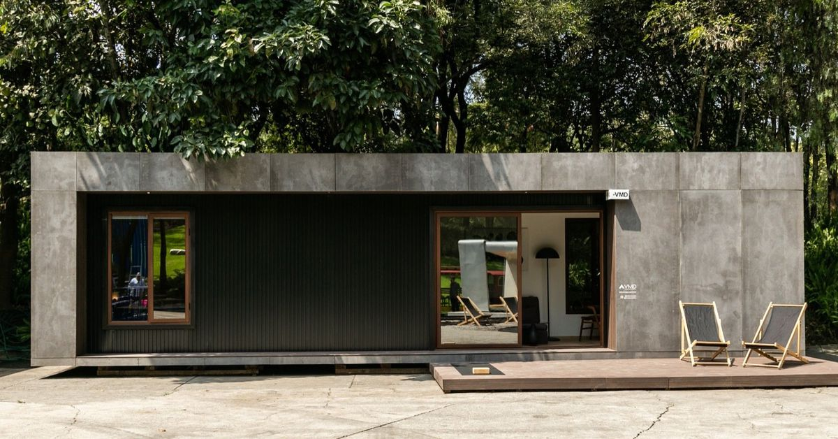New shipping container home offers a bit of Brutalist charm