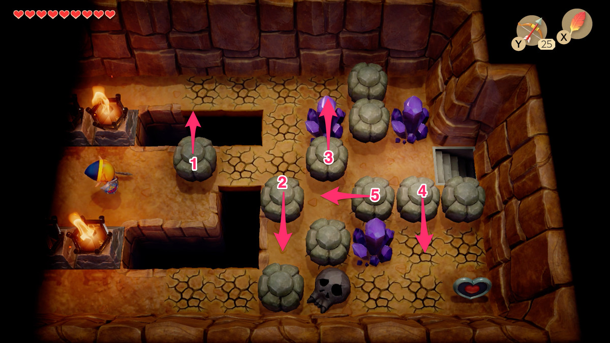 Link's Awakening Tal Tal Heights path to the Heart Piece and the stairs